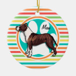 Pit Bull; Bright Rainbow Stripes Double-Sided Ceramic Round Christmas Ornament