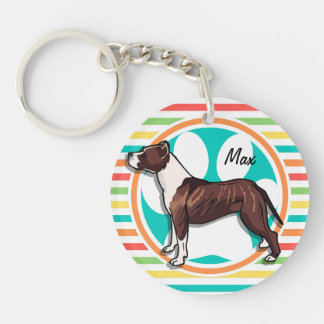 Pit Bull; Bright Rainbow Stripes Double-Sided Round Acrylic Keychain