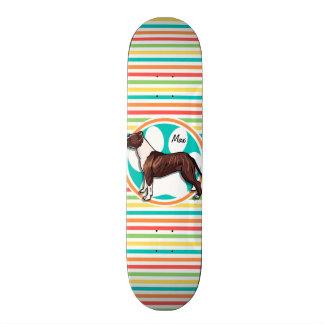 Pit Bull; Bright Rainbow Stripes Skate Board Deck