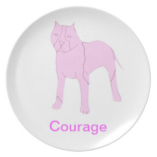 Pit Bull Courage Cancer Awareness Plate