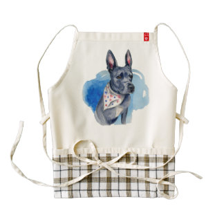 Pit Bull Dog Blue Watercolor Painting Zazzle HEART Apron