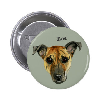 Pit Bull Dog Close Up Watercolor Painting Pinback Button