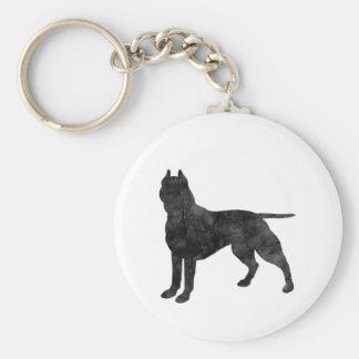 Pit Bull Dog Grunge Silhouette Keychain