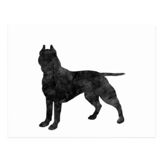 Pit Bull Dog Grunge Silhouette Postcards