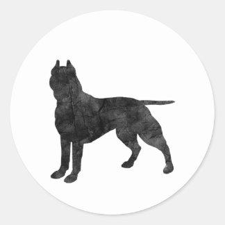 Pit Bull Dog Grunge Silhouette Round Sticker