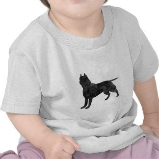 Pit Bull Dog Grunge Silhouette Tee Shirts