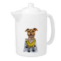 Pit Bull Dog in a Raincoat Illustration Teapot