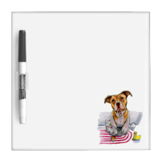 Pit Bull Dog in Bathrobe Watercolor Painting Dry-Erase Board