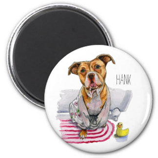 Pit Bull Dog in Bathrobe Watercolor Painting Magnet