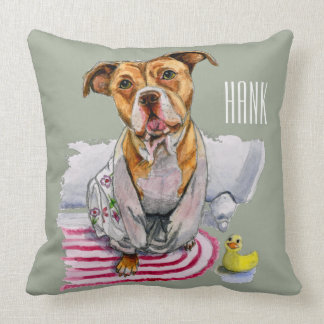 Pit Bull Dog in Bathrobe Watercolor Painting Throw Pillow