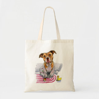 Pit Bull Dog in Bathrobe Watercolor Painting Tote Bag
