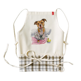Pit Bull Dog in Bathrobe Watercolor Painting Zazzle HEART Apron