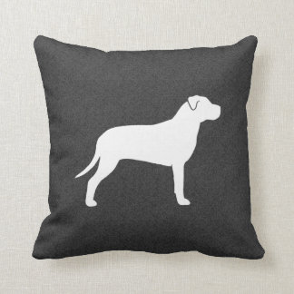 Pit Bull Dog Silhouette Throw Pillow