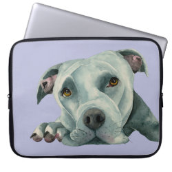 Pit Bull Dog Watercolor Portrait Dog Art Computer Sleeve