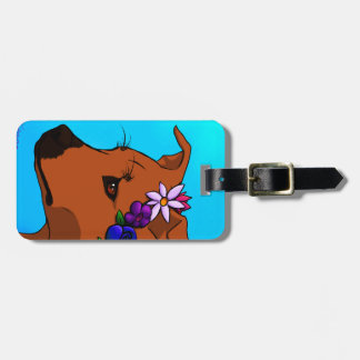 Pit Bull Flower Crown luggage tag