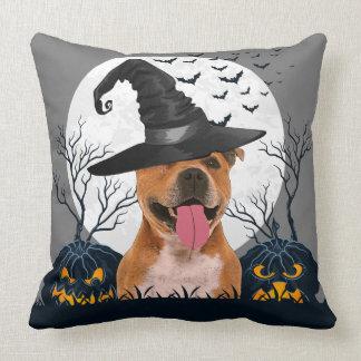 Pit Bull Halloween Pumpkin Patch Throw Pillow