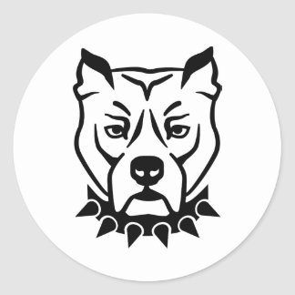 Pit bull head face round sticker