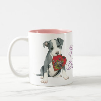 Pit Bull Heart Mom Two-Tone Coffee Mug