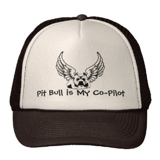Pit Bull is My Co-Pilot - Trucker Style Ball Cap Trucker Hat