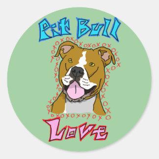 Pit Bull Love Classic Round Sticker