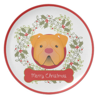 Pit Bull Merry Christmas Plate