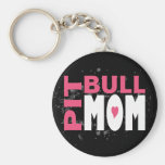 Pit Bull Mom Basic Round Button Keychain