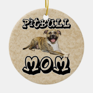 Pit Bull MOM - Tigger Double-Sided Ceramic Round Christmas Ornament