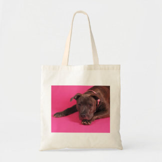 Pit Bull on Pink Tote Bag