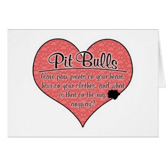 Pit Bull Paw Prints Dog Humor Greeting Card