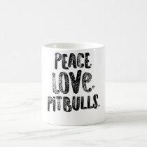 Pit Bull Peace Love Pitbulls Black American Bully Coffee Mug