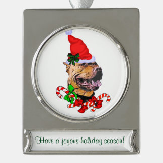 Pit Bull Personalized Christmas Silver Plated Banner Ornament