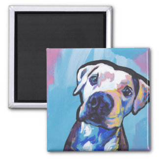 pit bull pitbull fun pop art 2 inch square magnet