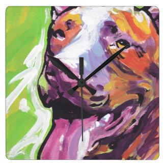 pit bull pitbull fun pop art square wall clock