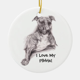 Pit Bull Portrait in Charcoal Ornament