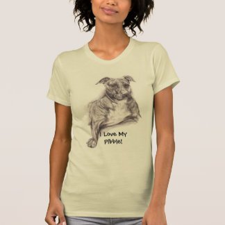 Pit Bull Portrait in Charcoal T-shirts