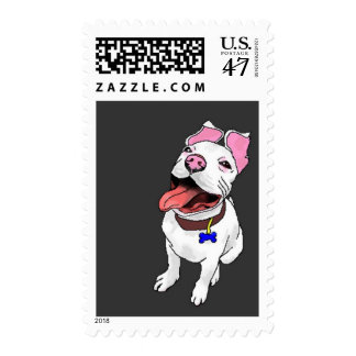 pit bull postage stamp white puppy dog, Wilbur