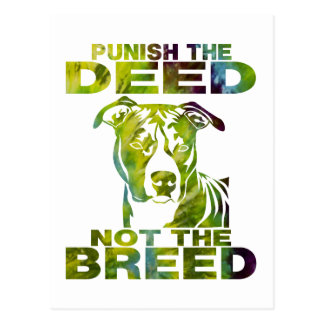 PIT BULL PUNISH THE DEED NOT THE BREED TD5A POSTCARD