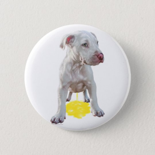 Pit Bull Puppy Piddles OOPS Pinback Button