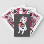 "Pit Bull Puppy Playing Cards Deck<br><div class=""desc"">Deck of playing cards with a cute pit bull puppy against a grey background.  Card suits are in pink,  black,  and grey to match the puppy,  but you can choose your theme from a variety of color choices.</div>"