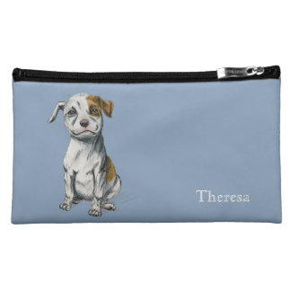 Pit Bull Puppy Sketch Drawing | Add Your Name Makeup Bag
