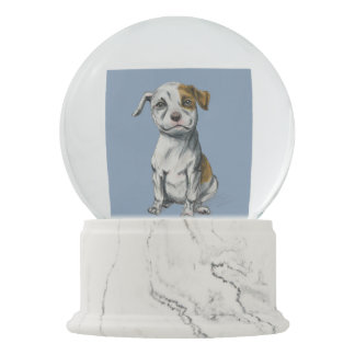 Pit Bull Puppy Sketch Drawing Snow Globe