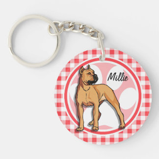 Pit Bull; Red and White Gingham Double-Sided Round Acrylic Keychain