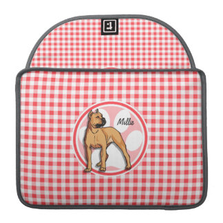 Pit Bull; Red and White Gingham MacBook Pro Sleeves