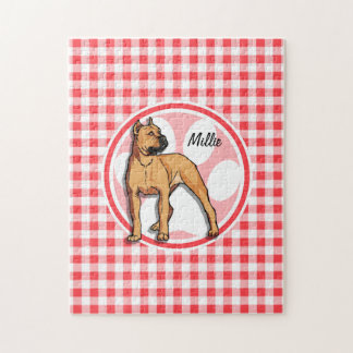 Pit Bull; Red and White Gingham Jigsaw Puzzle