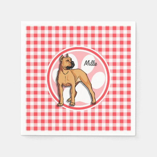 Pit Bull; Red and White Gingham Paper Napkins