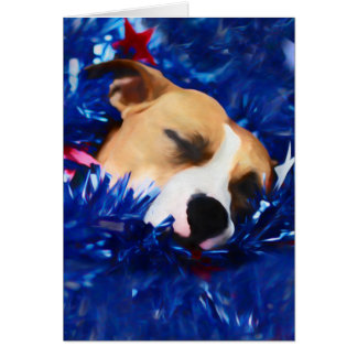 Pit Bull Rescue Dog in USA Stars and Stripes Card