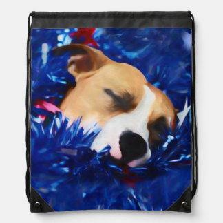 Pit Bull Rescue Dog in USA Stars and Stripes Drawstring Bag