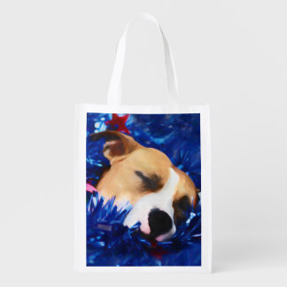 Pit Bull Rescue Dog in USA Stars and Stripes Market Totes