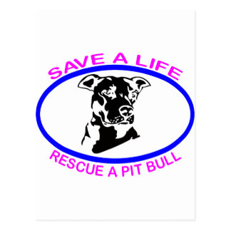 PIT BULL SAVE A LIFE POSTCARD