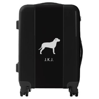 Pit Bull Silhouette Personalized Luggage